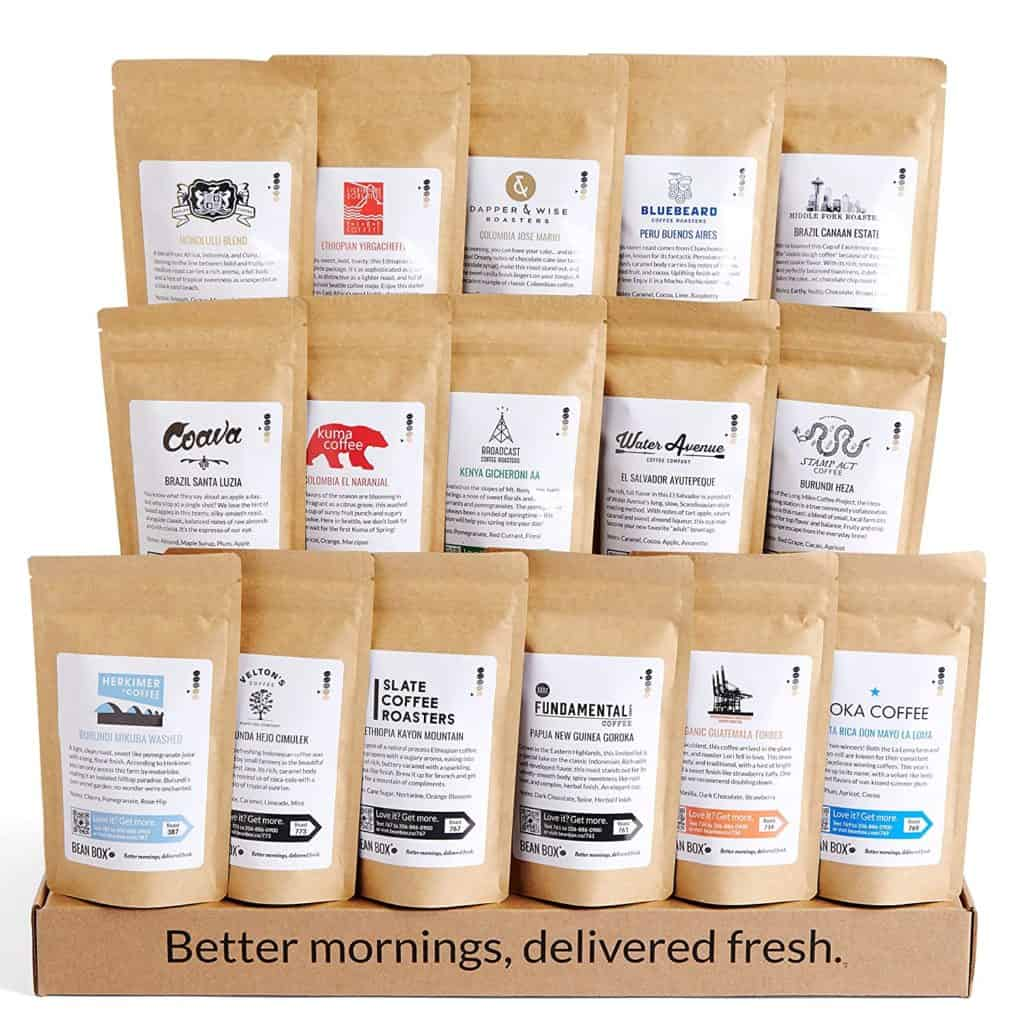 coffee gifts for dad: bean box - world coffee tour gift set