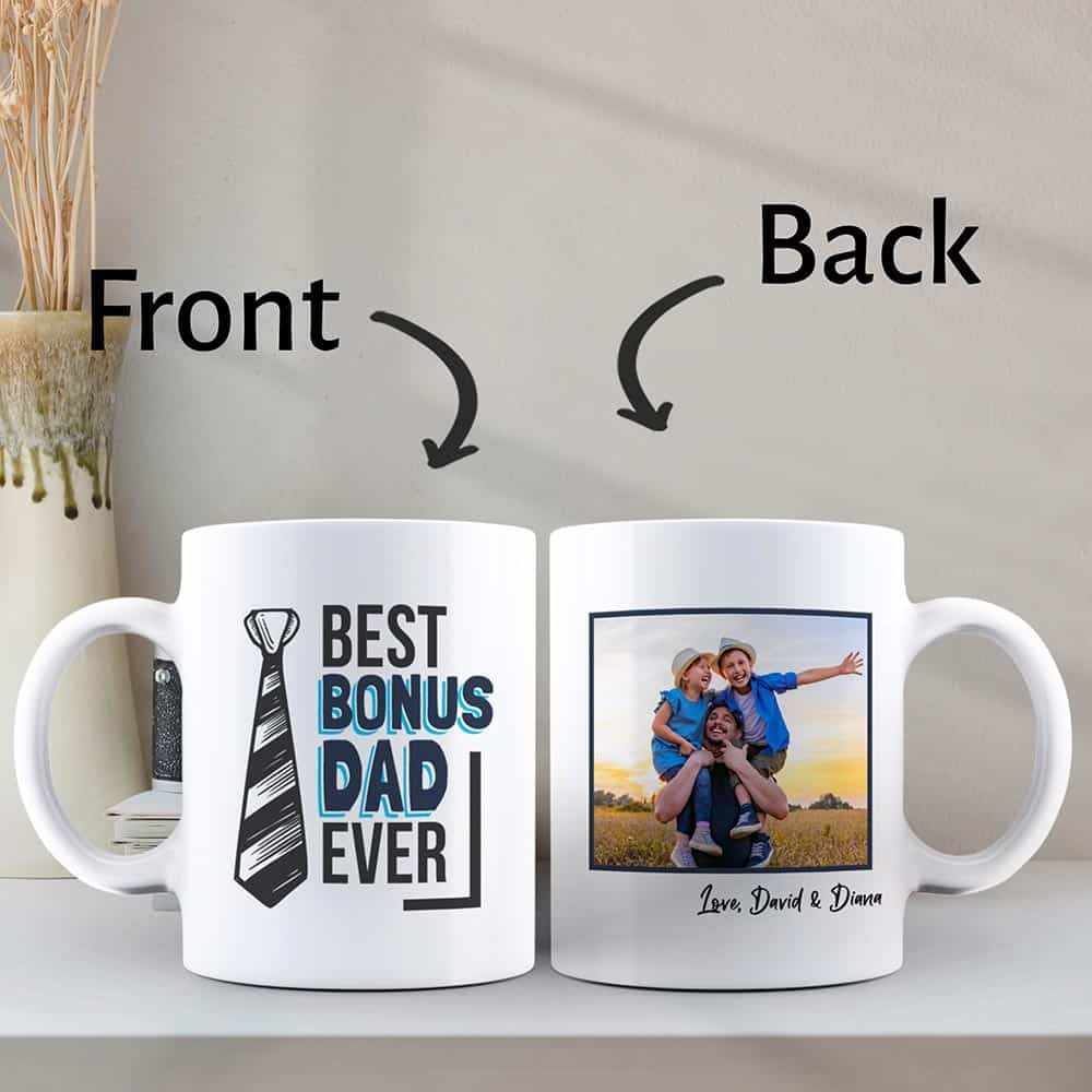 fathers day gift for stepdad: best bonus dad ever custom photo mug