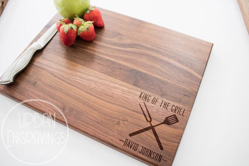 step dad gift ideas: engraved cutting board