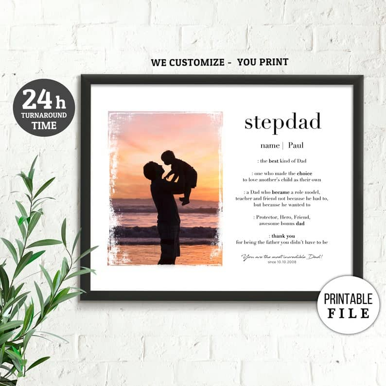 best step dad gifts: custom stepdad definition print