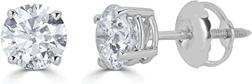 14K Gold Round-Cut Diamond Stud Earring