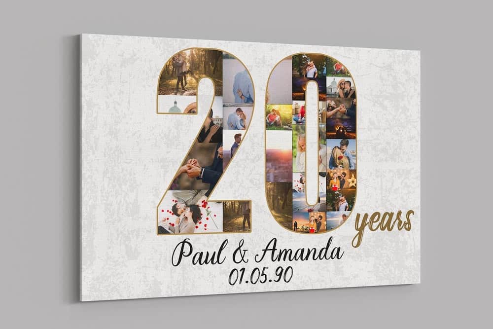 20th Anniversary Custom Collage Photo Canvas