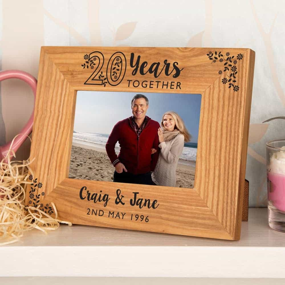 20th Anniversary Oak Photo Frame For The Couple