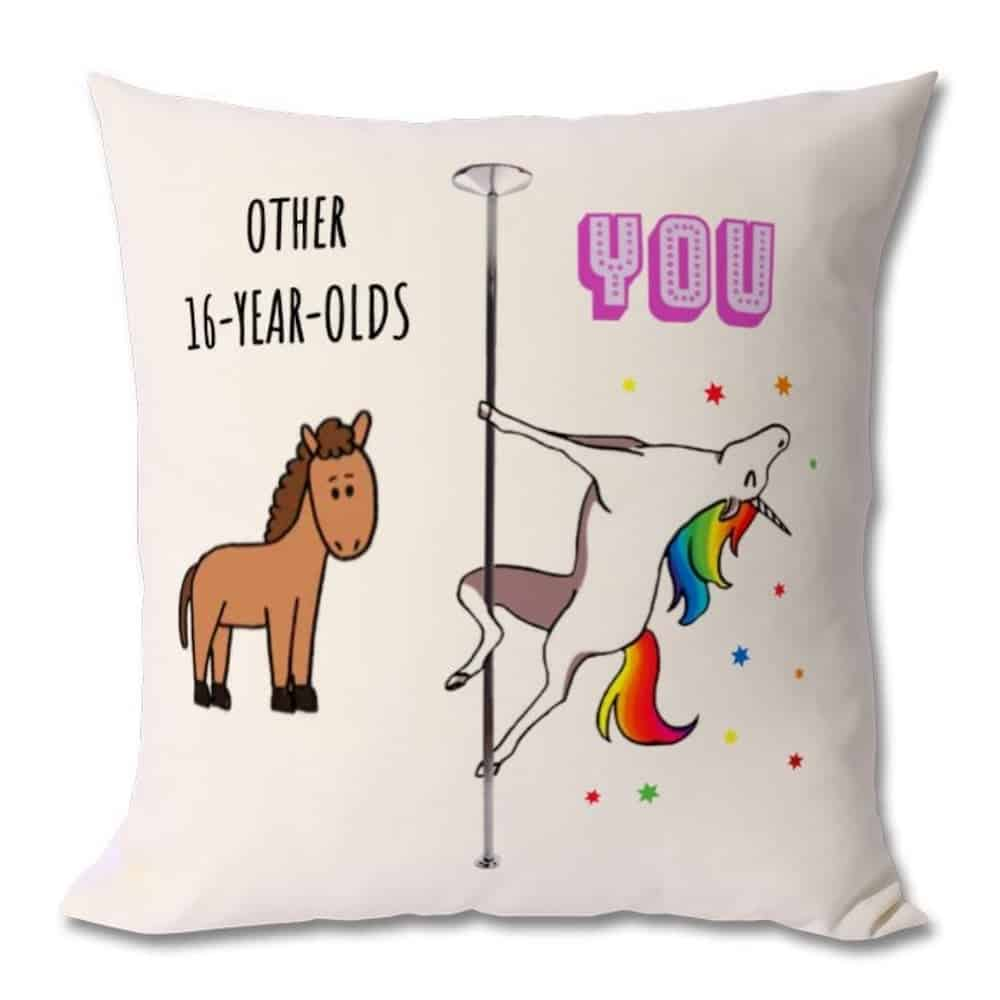 Awesome Unicorn 16th Birthday Cushion