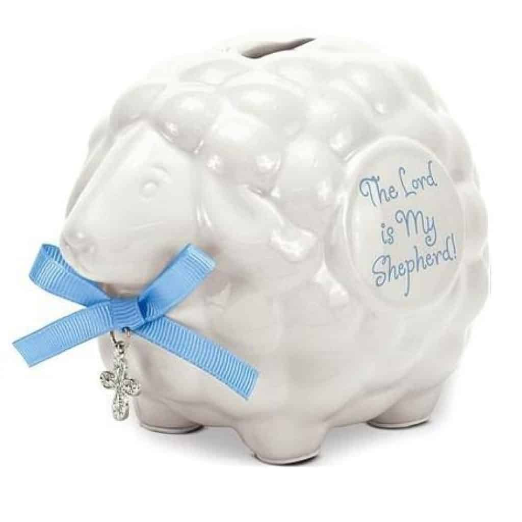 Baby Lamb Bank with blue ribbon - baptism gifts for girls
