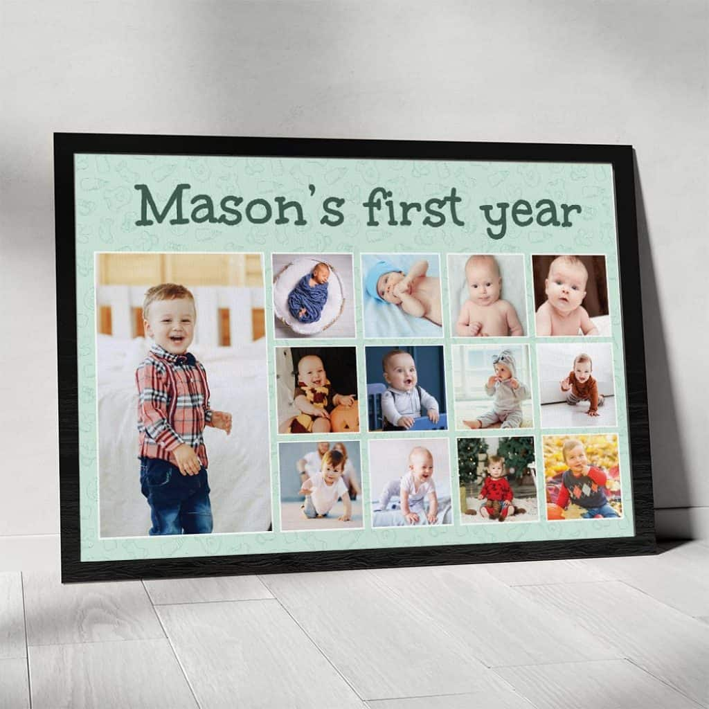 Baby's First Year Canvas with 15 photos on it - Baptism gifts for boys