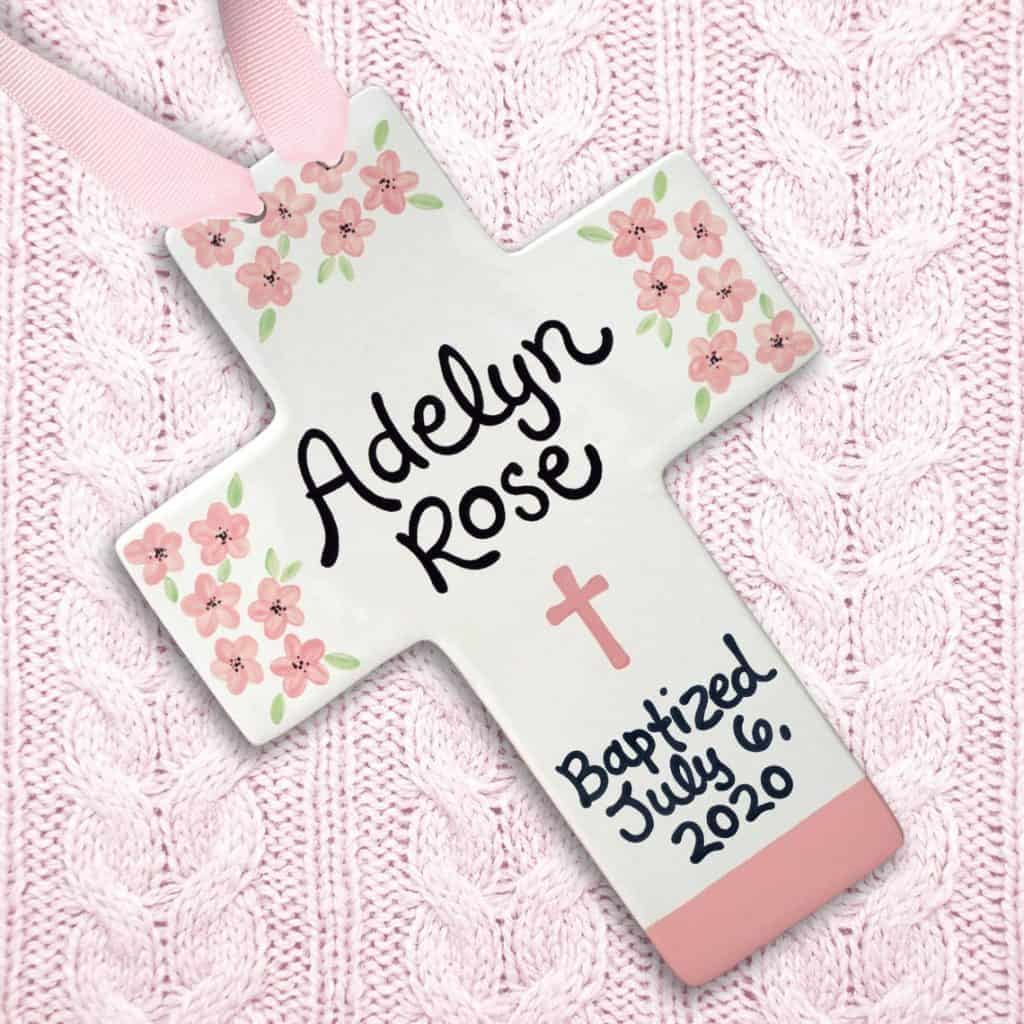 Pink Baptism Flower Cross -baptism gifts for girls