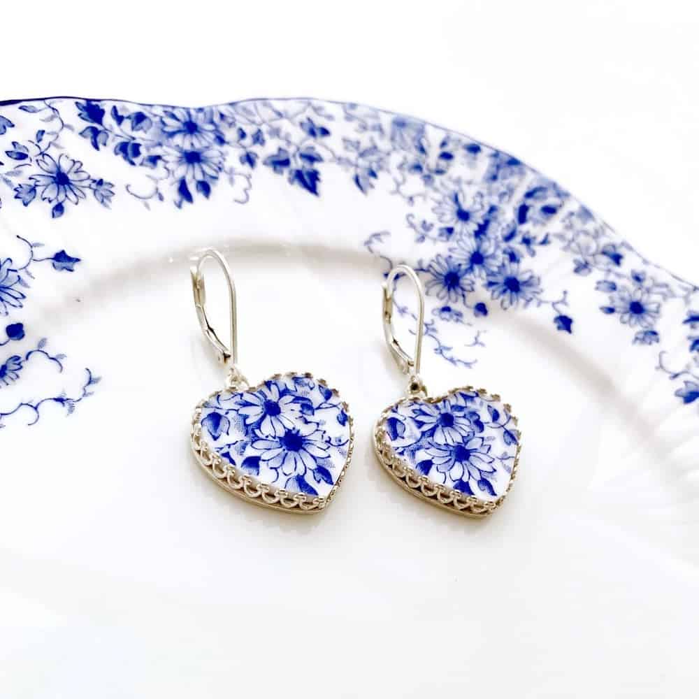 Blue and White Broken China Jewelry Heart Earrings
