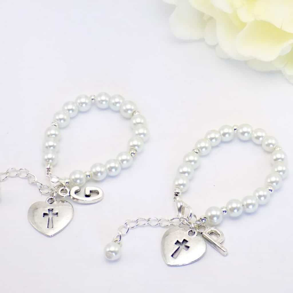 Bracelets for Twins with cross in  hearts