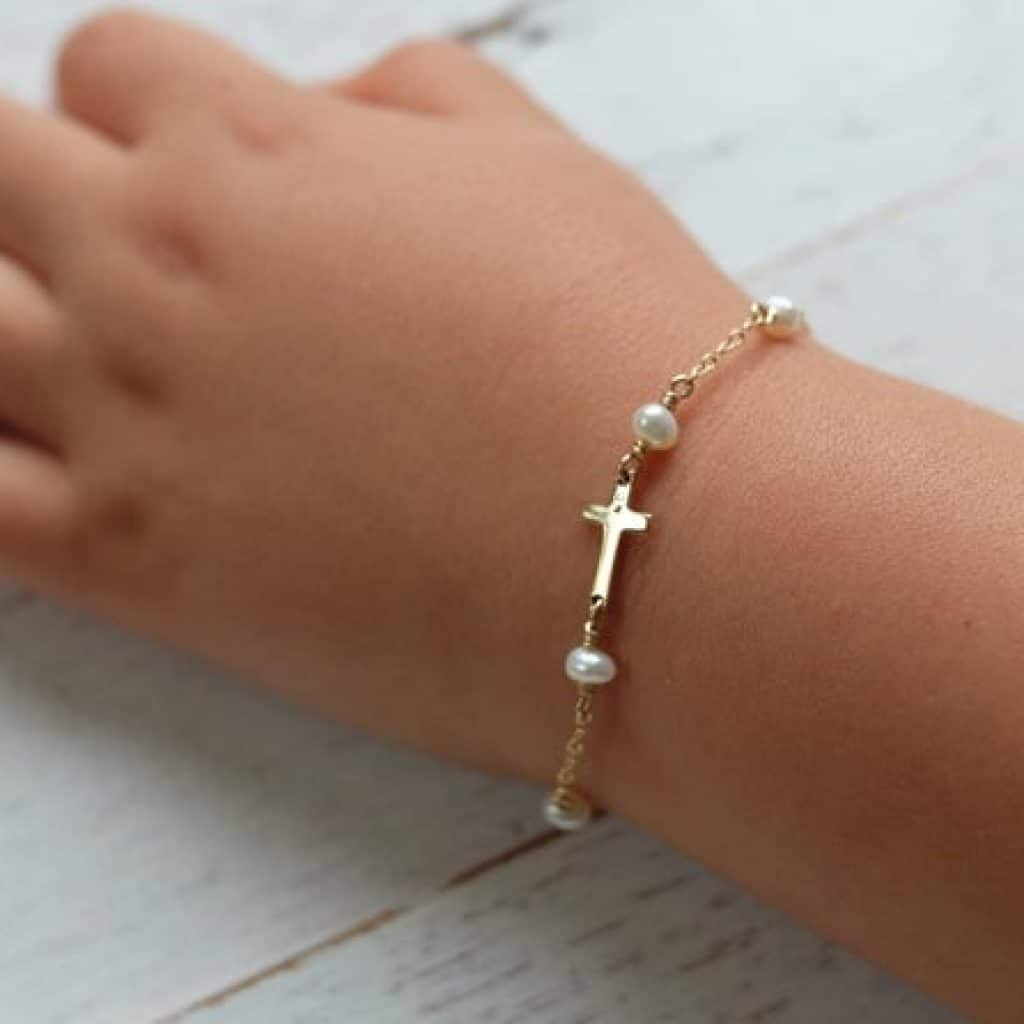 Cross Baby Bracelet with pearls - baptism gifts for girls