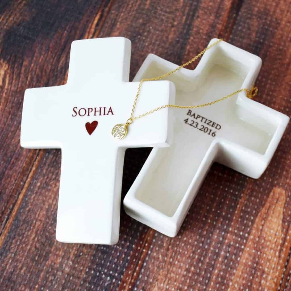 White Cross Keepsake Box - baptism gifts for girls