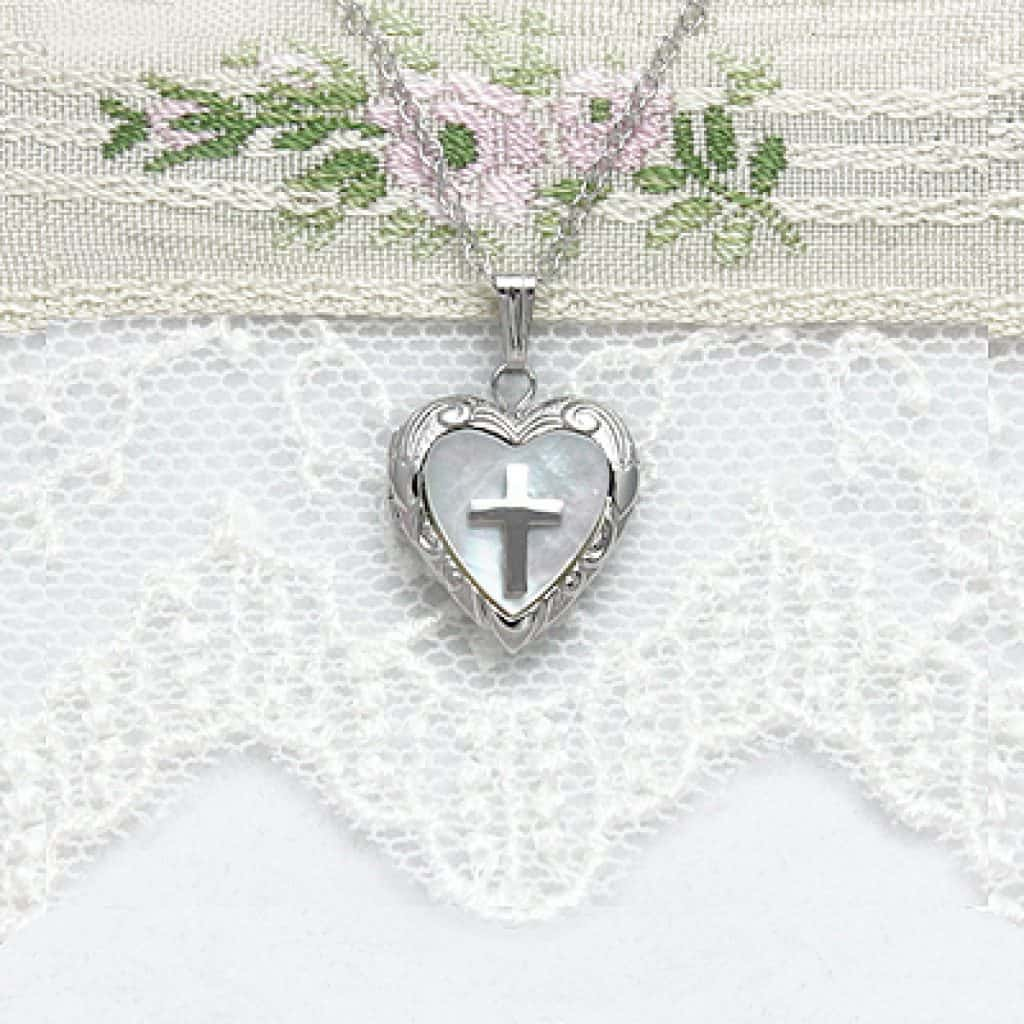 Cross Locket Necklace with heart and cross
