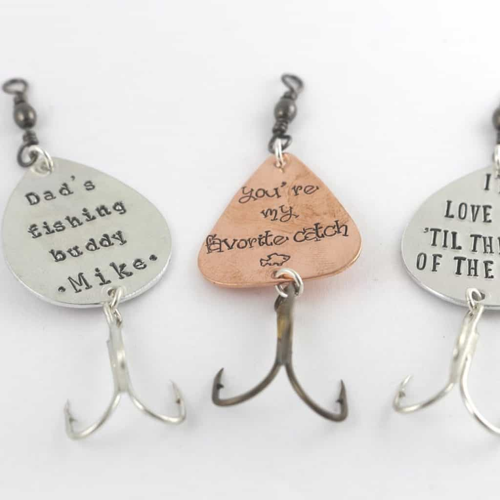 3 Custom Fish Hooks with custom messages.