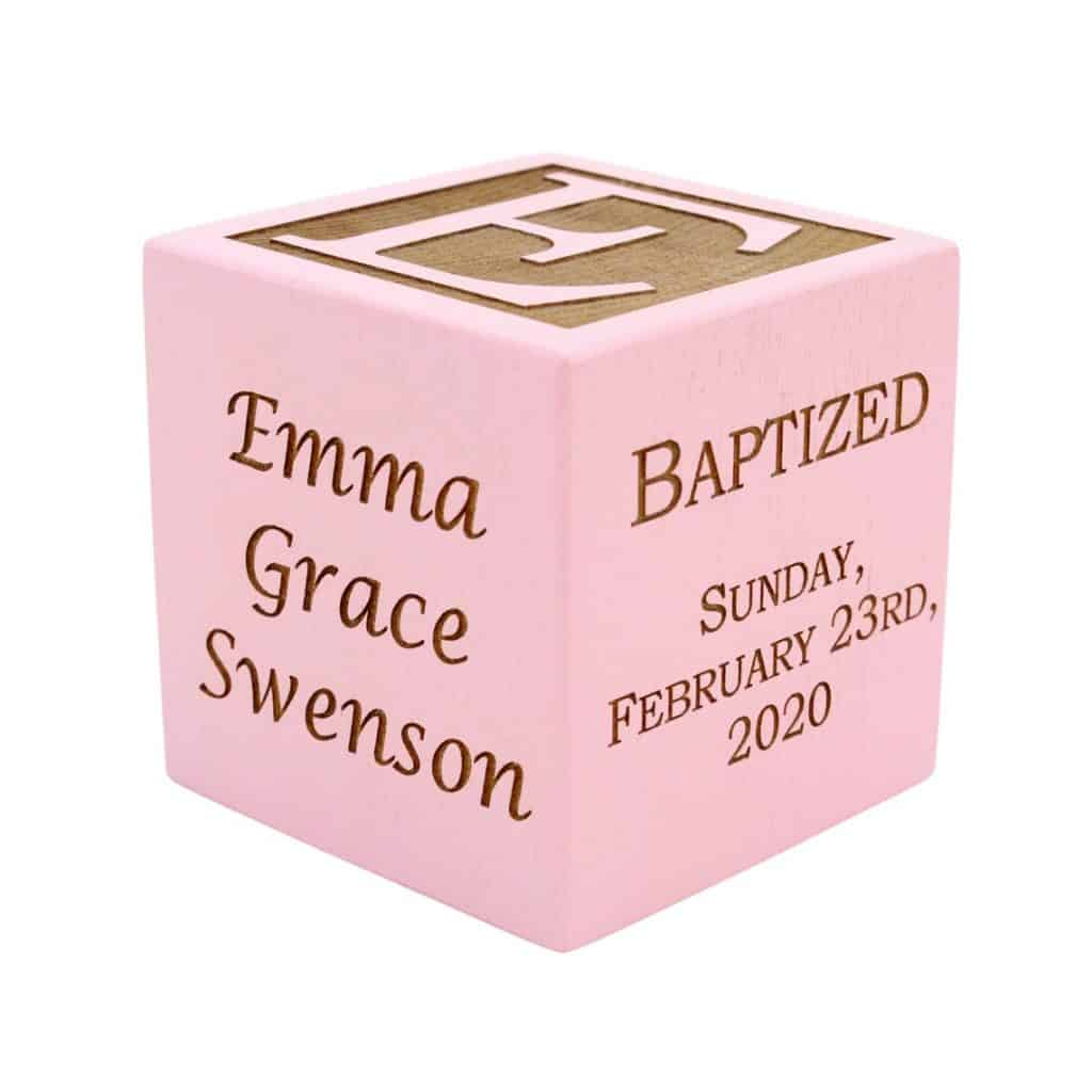 Pink Engraved Baptism Block - baptism gifts for girls
