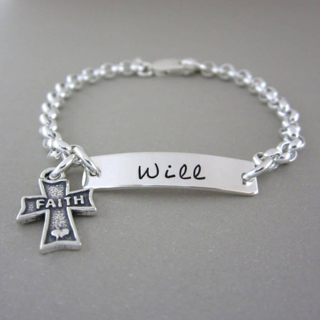 Engraved Cross Bracelet with engraved text and cross - baptism gifts for boys