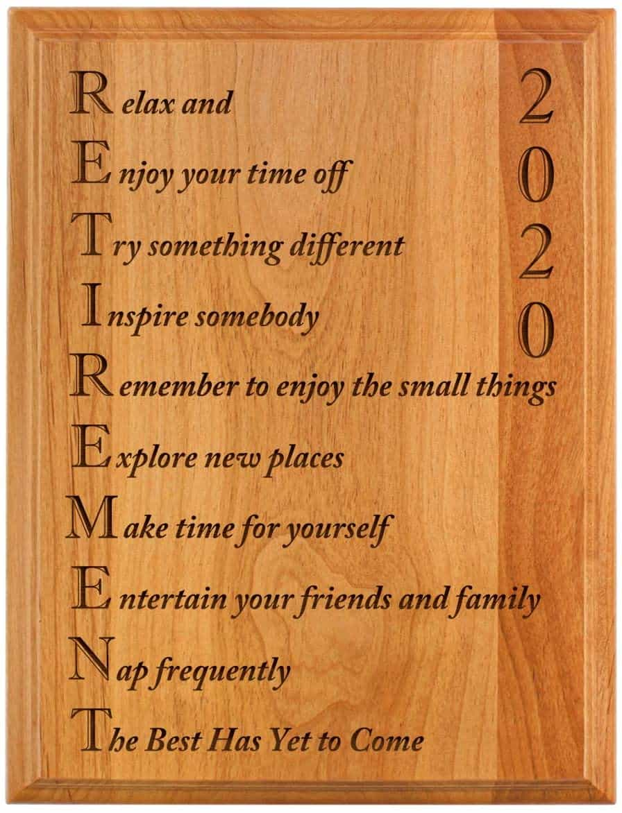 Engraved Plaque Wood with meaningful message on it - retirement gifts for men