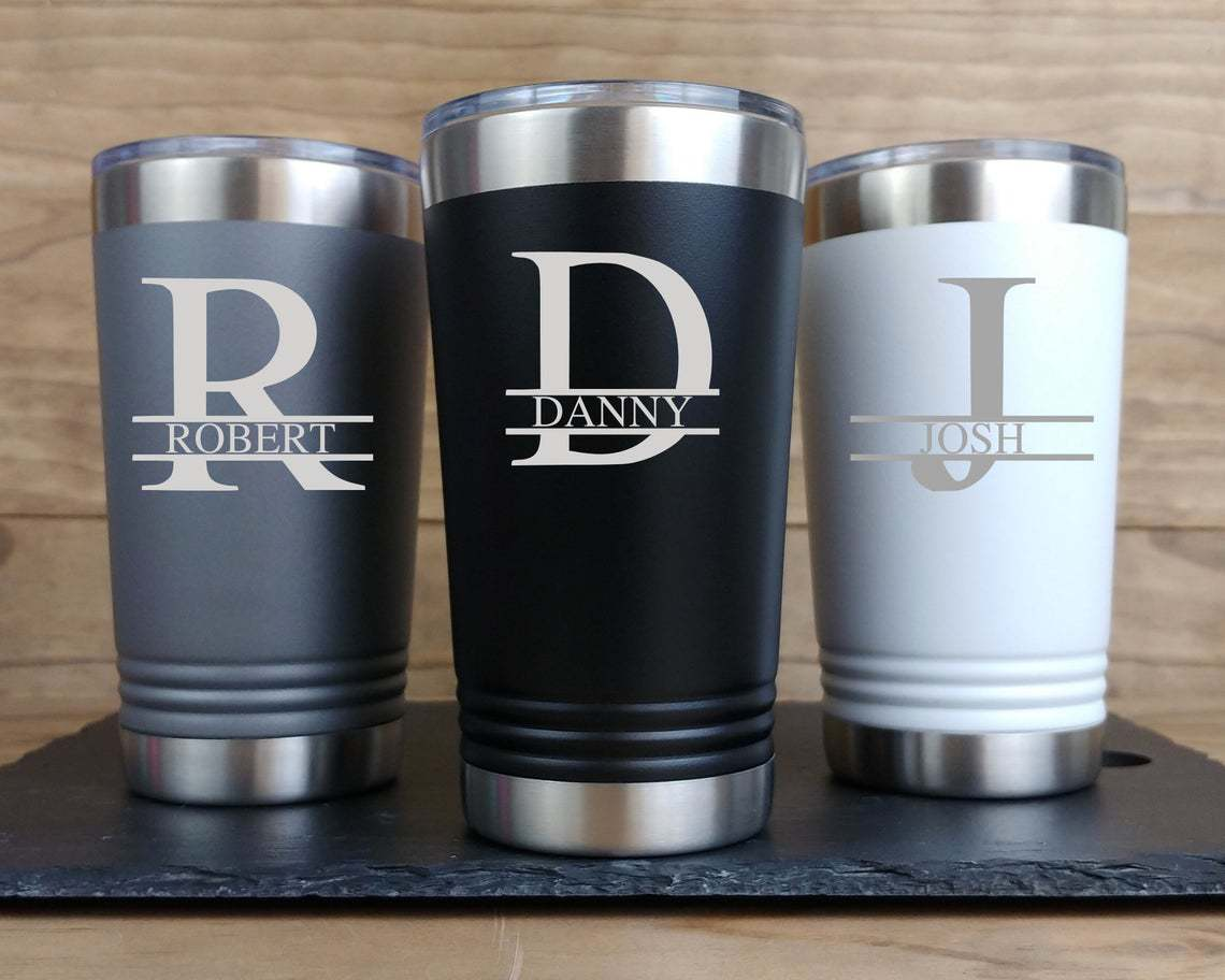 3 Engraved Tumblers in gray, black and white