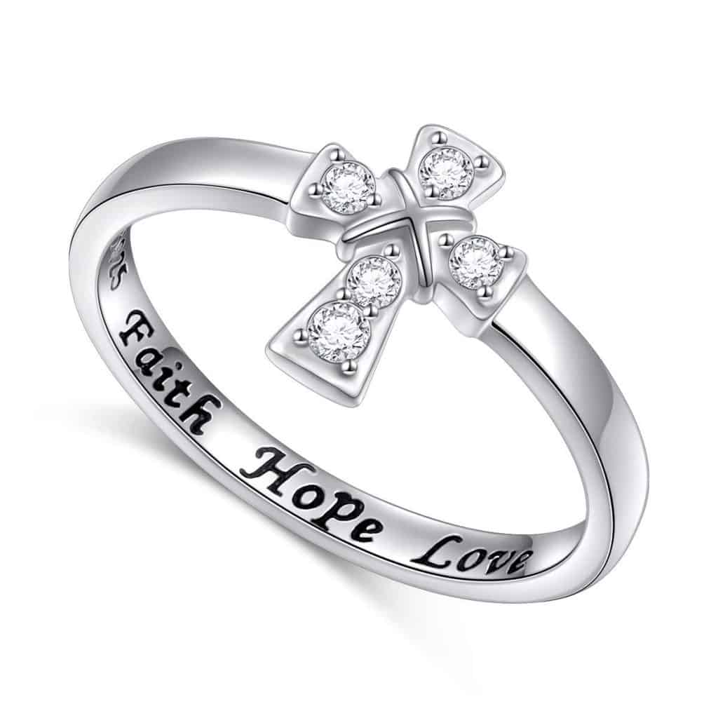 "Cross Ring with the text ""faith hope love"" - baptism gifts for girls"