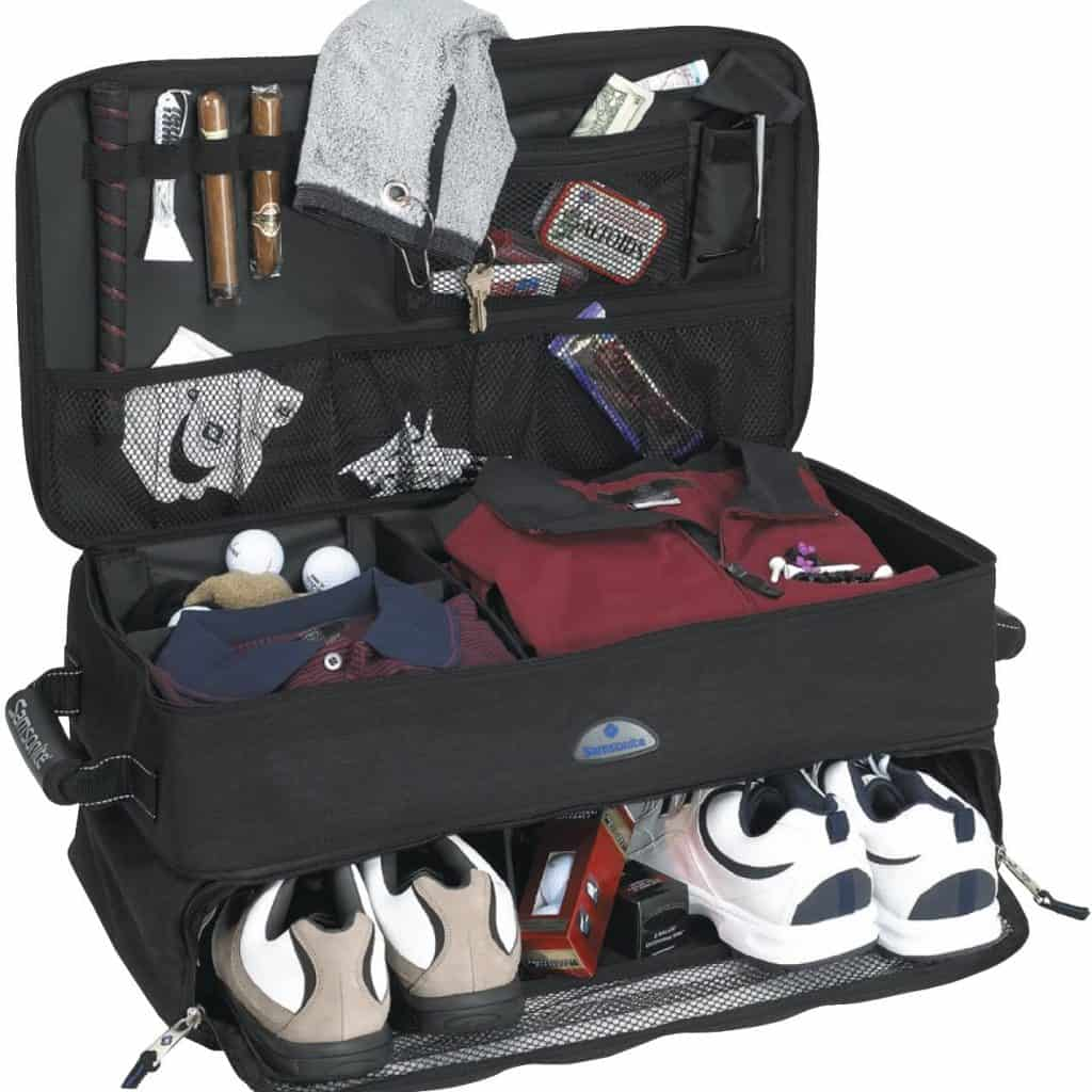 Black Golf Trunk Locker Organizer with shoes and things in there. It's a good retirement gift for men