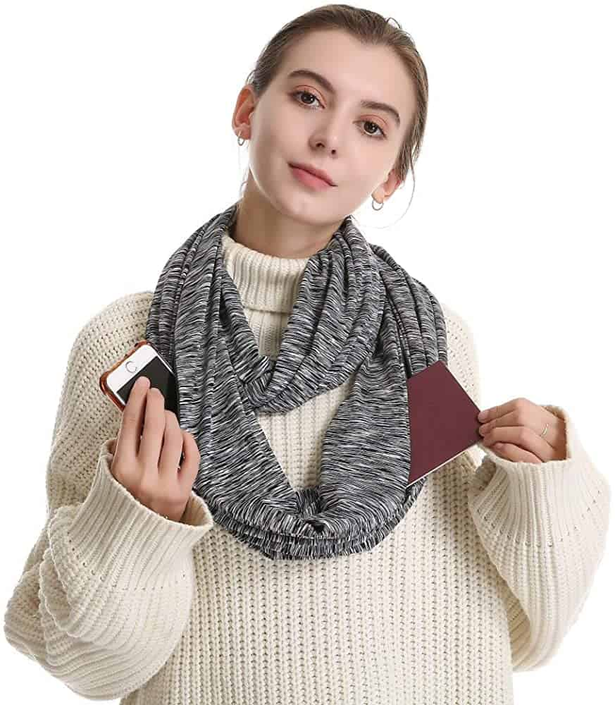Infinity Scarf With Zipper Pockets will  refresh you retirement gifts for women list