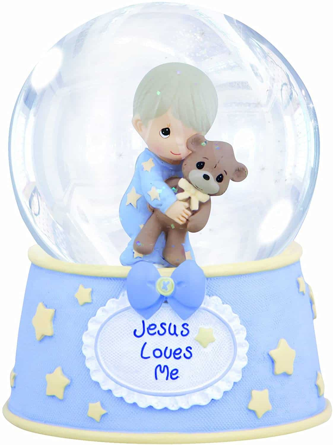 "Blue Snow Globe with text ""Jesus Loves Me"" - Baptism gifts for boys"