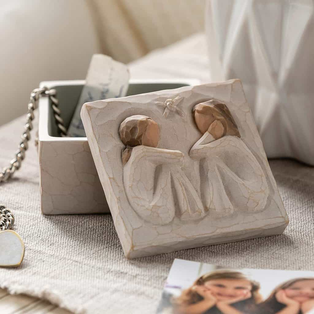 Keepsake Box with two girls sitting with each other - baptism gifts for girls