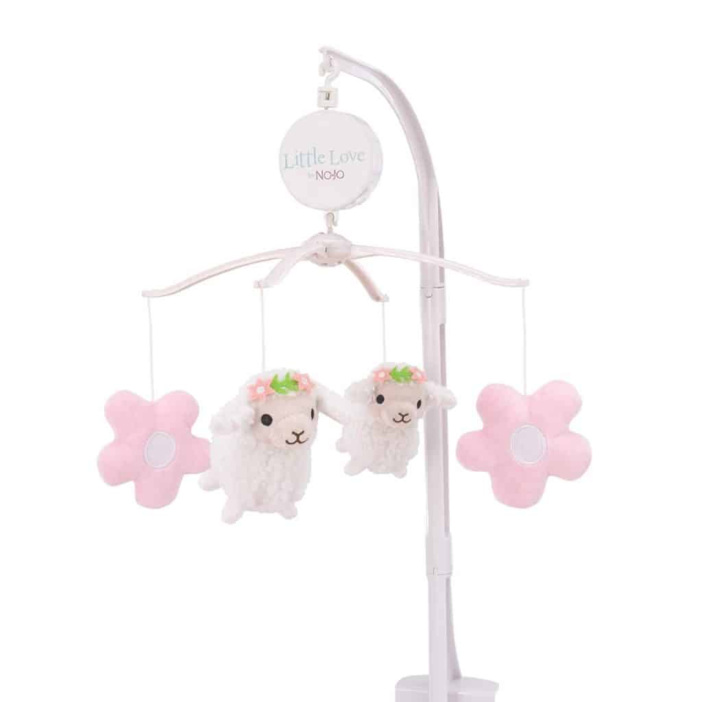 Lamb Musical Mobile with two lamps and 2 flowers - baptism gifts for girls