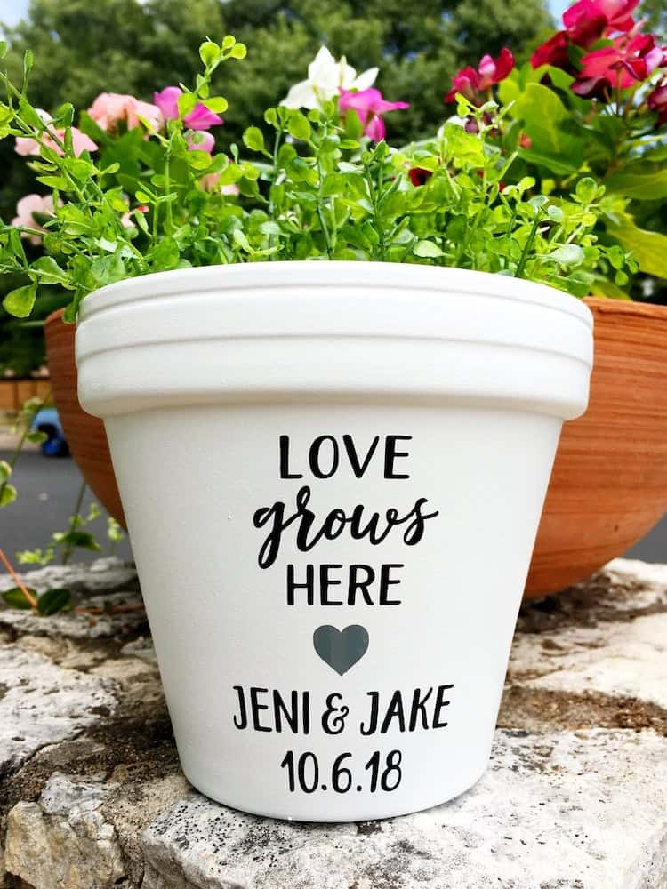 Love Grows Here-Personalized Pot For Her on 20th wedding anniversary