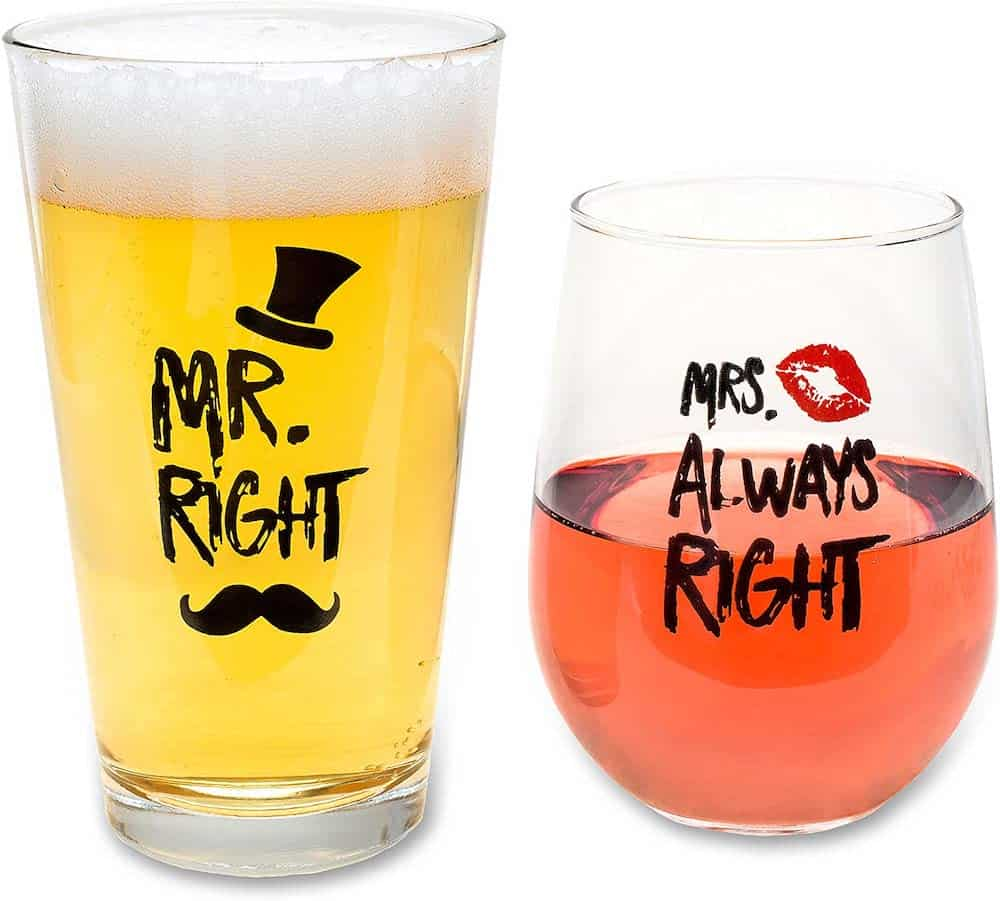 Mr. Right and Mrs. Always Right Novelty Wine Glass and Beer Glass For Couples