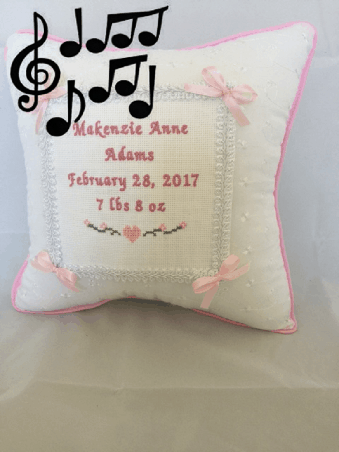 Musical Baptism Pillow - baptism gifts for girls
