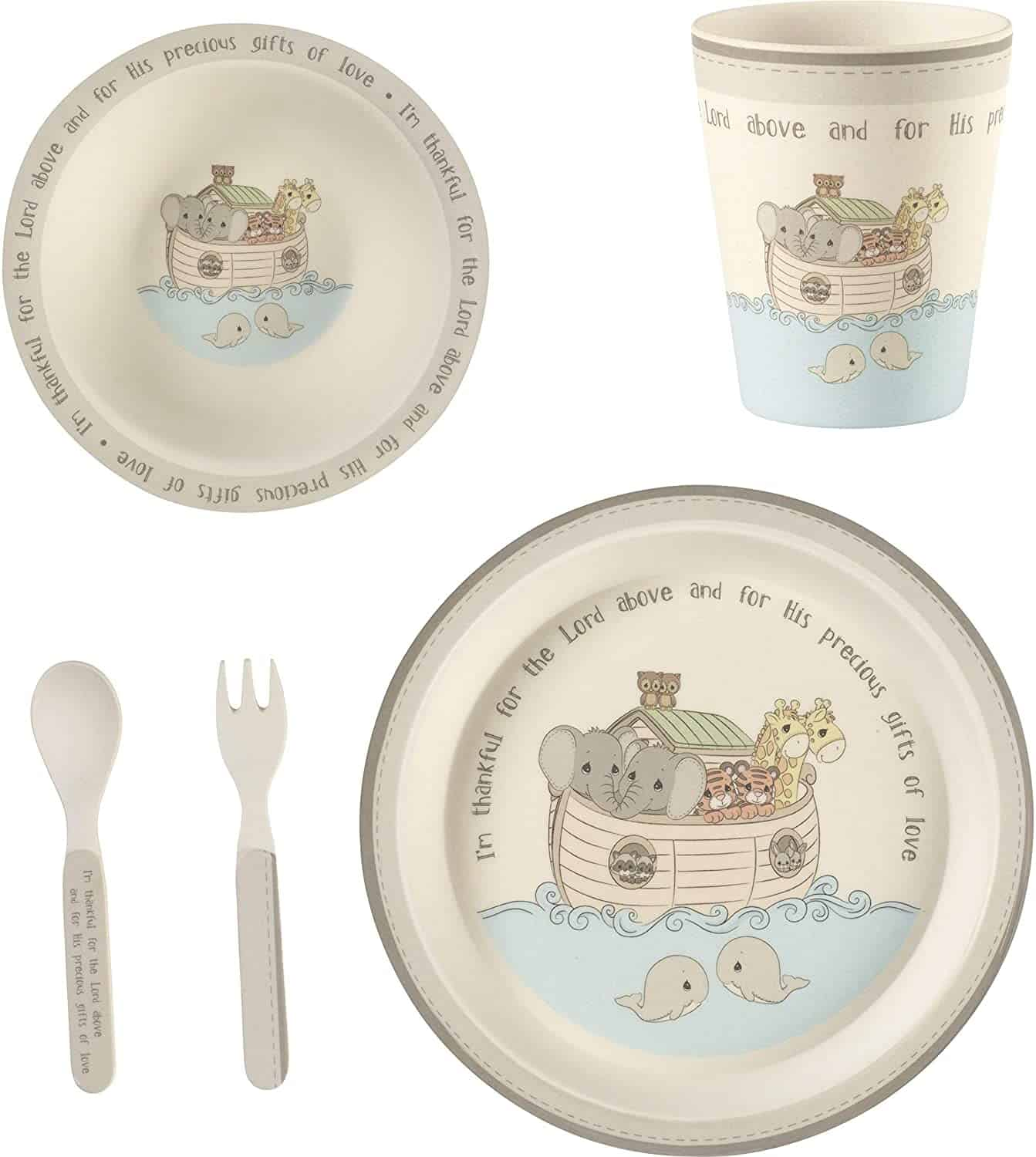 Noah's Ark Dinnerware Set with bowls, glass, spoon and fork