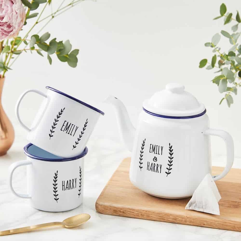 Personalised Enamel Teapot-traditional 20th anniversary gift