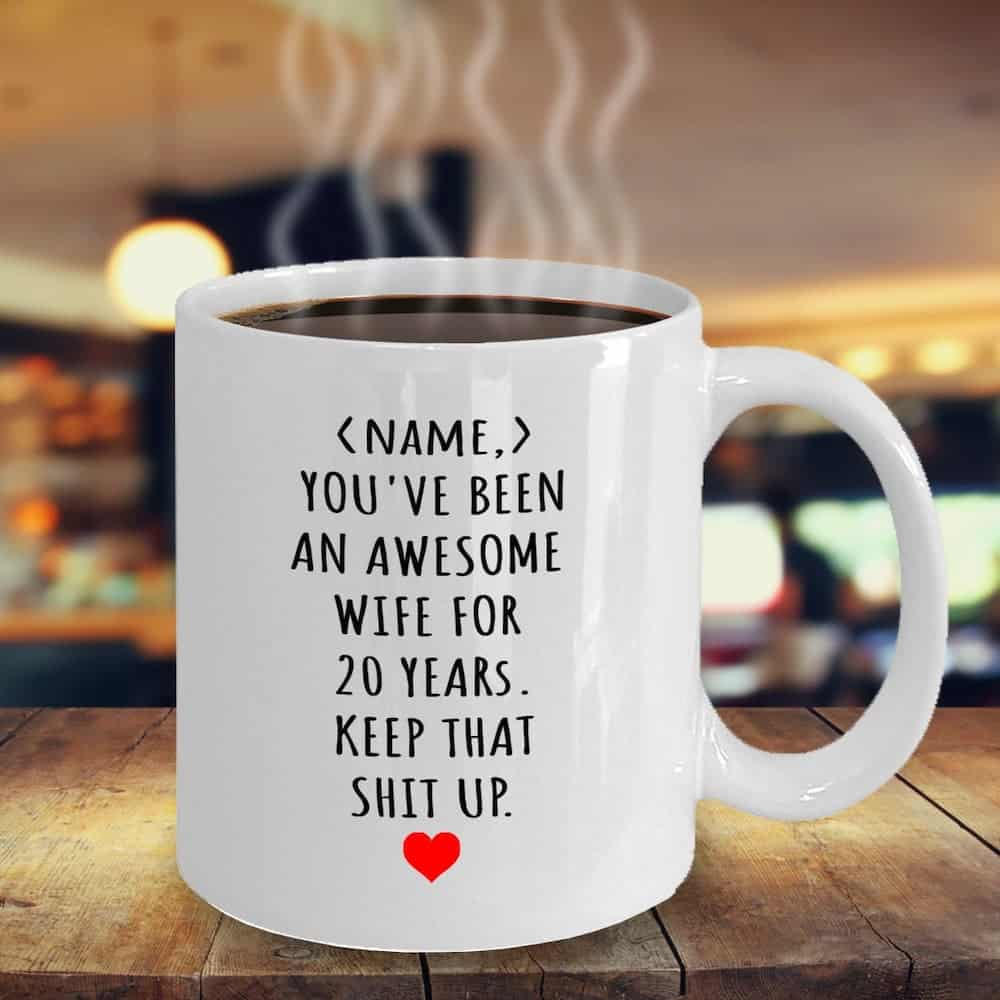 Personalized 20th Anniversary Mug Gift For Wife