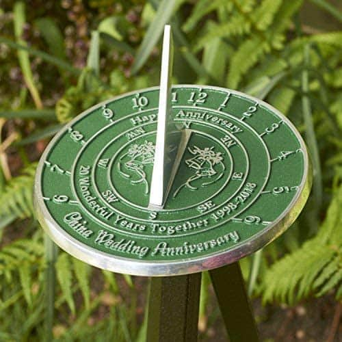 Personalized 20th China Wedding Anniversary Large Sundial