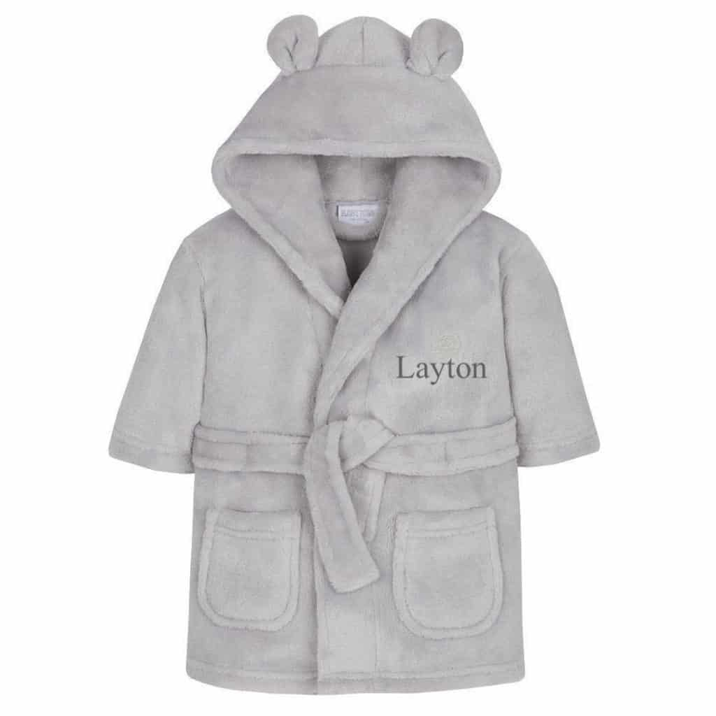 Gray Personalized Baby Bathrobe with text on it - Baptism gifts for boys
