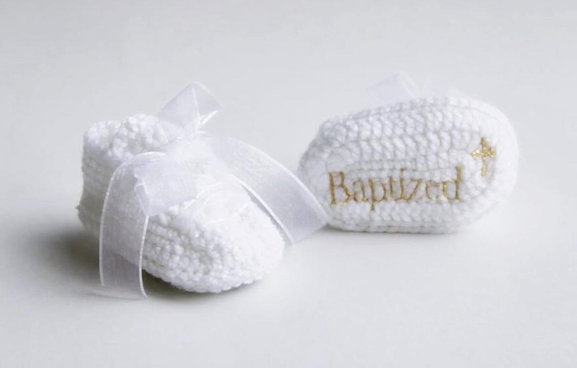 White Personalized Baby Booties  - Baptism Gifts for boys