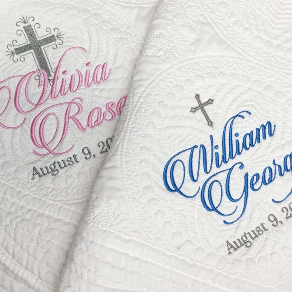 2 Personalized Baptism Blankets. One goes with blue name and the other goes with pink name.