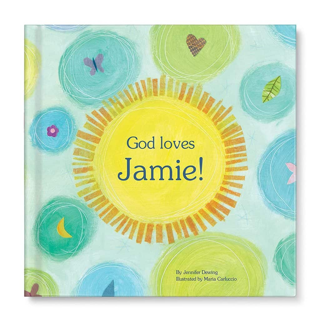"Personalized Book with text ""God loves Jamie! - Baptism gifts for boys"