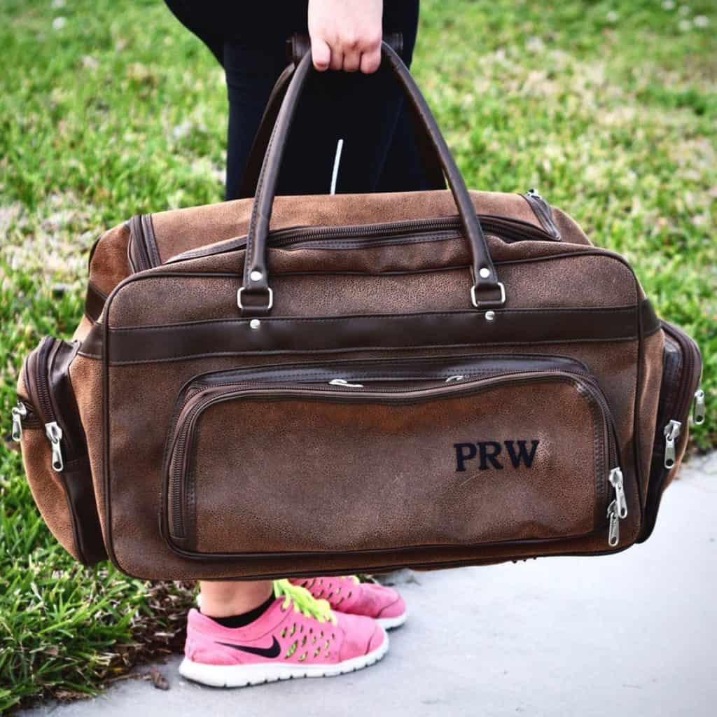 Personalized Duffel Bag in Brown