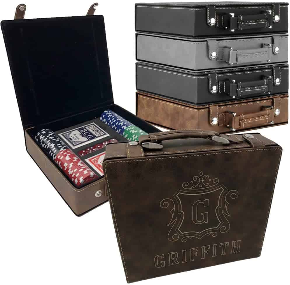 Personalized Poker Set in leather case with 4 different colors - best retirement gifts for men