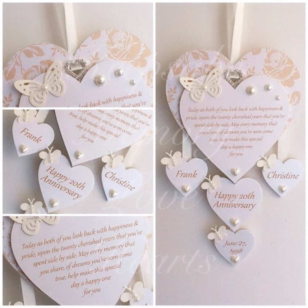 Personalized Wooden Keepsake Heart For 20 Year Anniversary