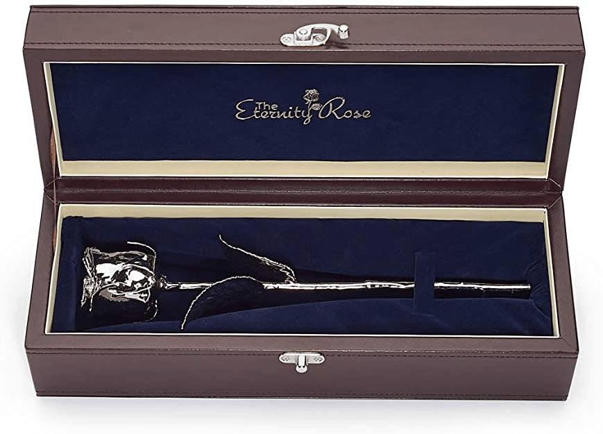 Platinum-Dipped Rose Leather Case As 20th Wedding Anniversary Gift For Wife