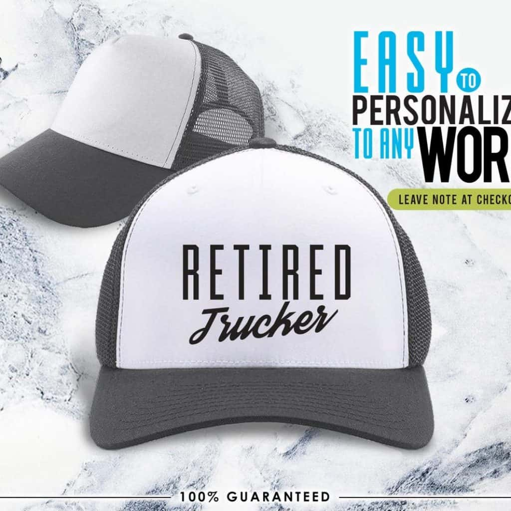 Retired Trucker Cap with black message