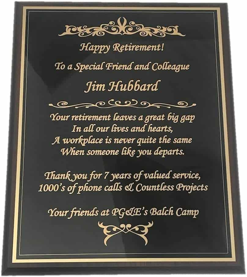 Retirement Engraved Plaque with yellow message in black plaque - retirement gifts for men