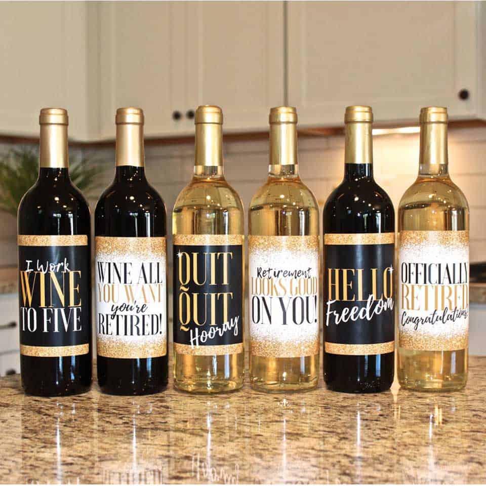 Retirement Party Wine Label