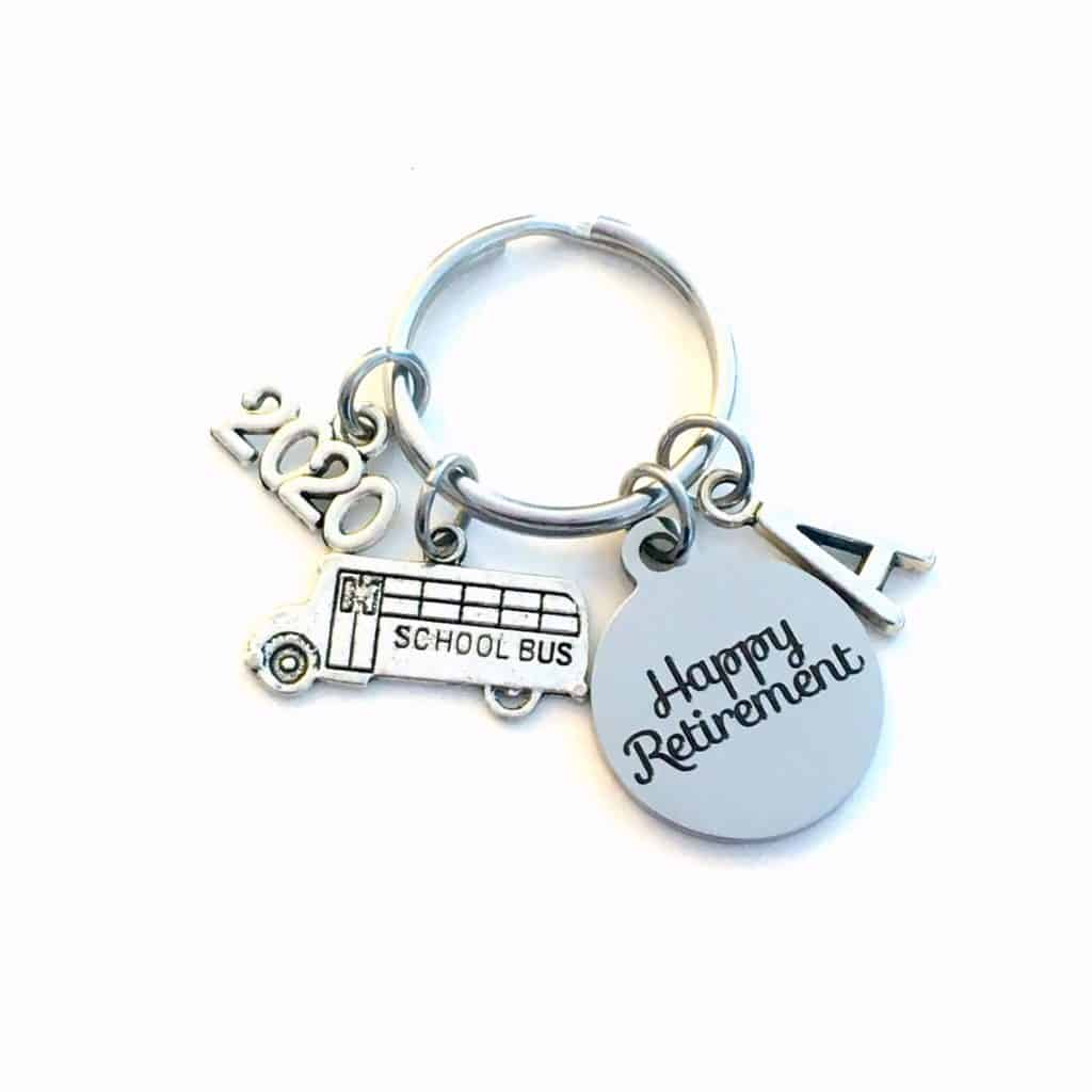 School Bus Driver Keychain with 2020 and Happy retirement message - Retirement gifts for men