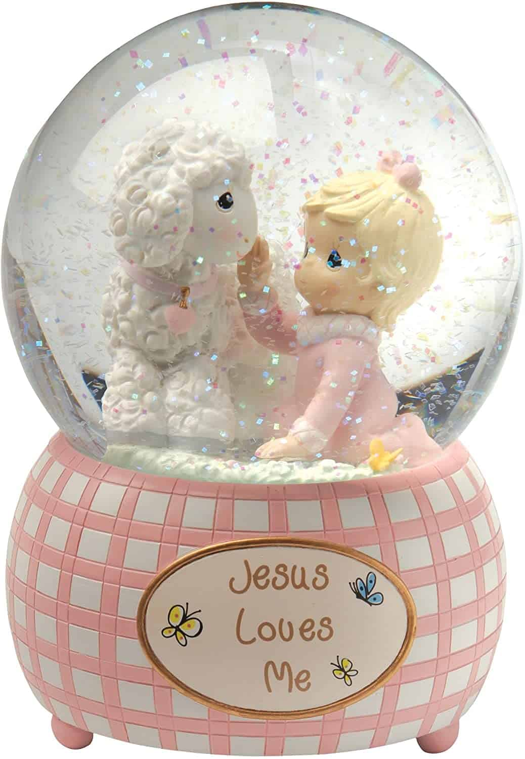 "Pink Snow Globe with text ""Jesus loves me"""
