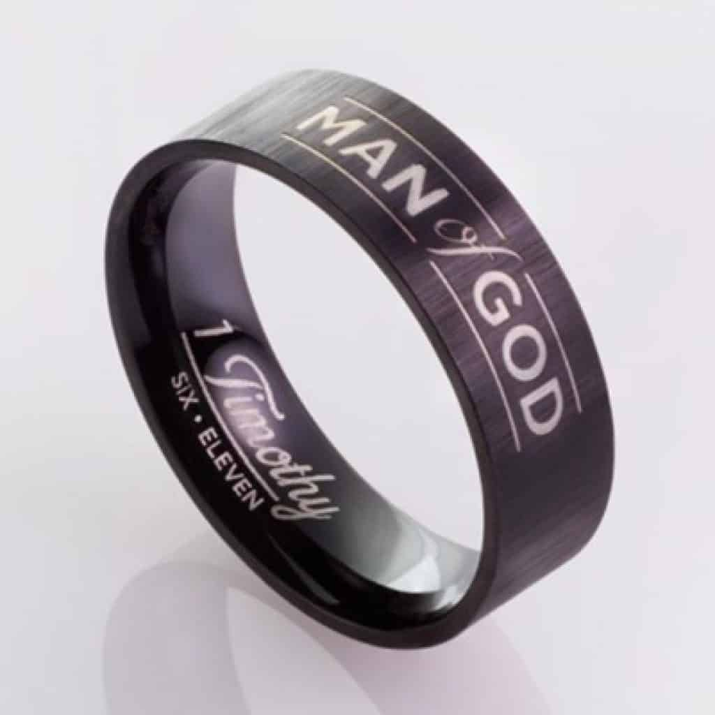 "Black Stainless Steel Ring with text ""Man of God"""