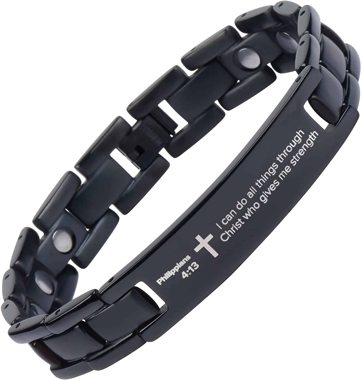 Black titanium Prayer Bracelet - Baptism gift for boys