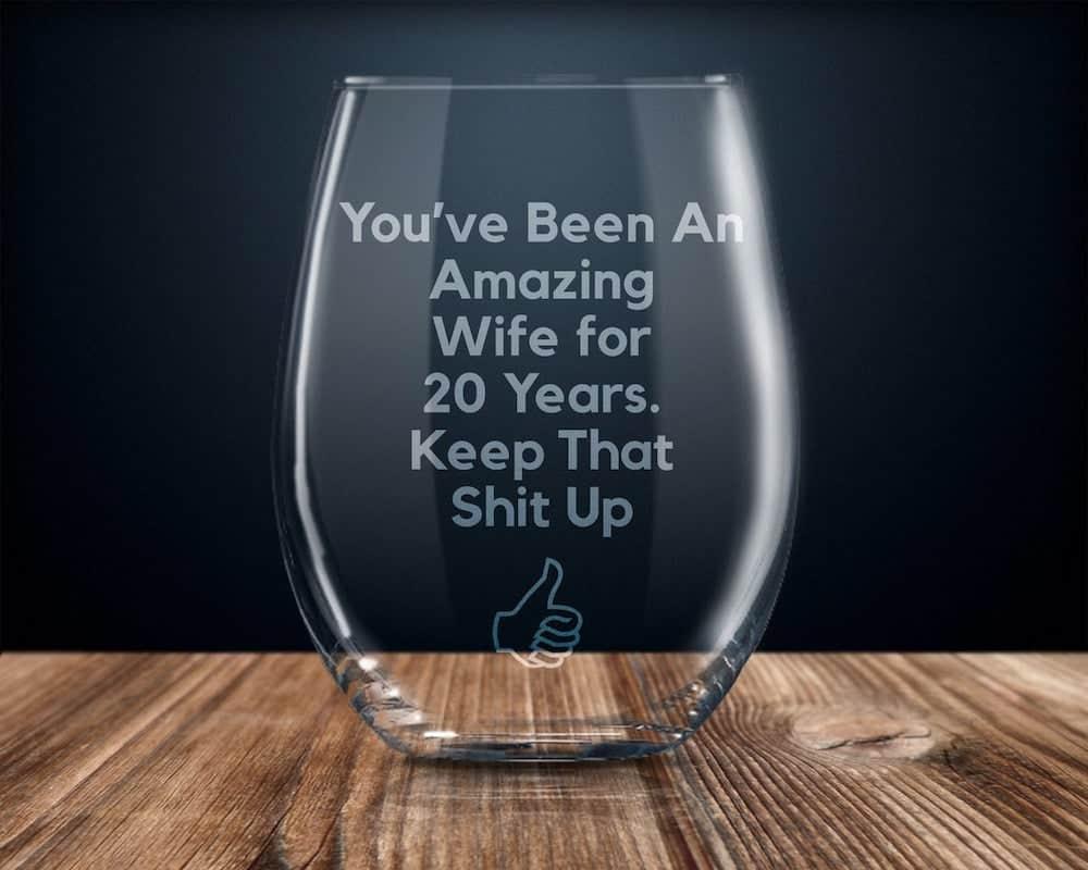 Twenty Year Anniversary Wine Glass